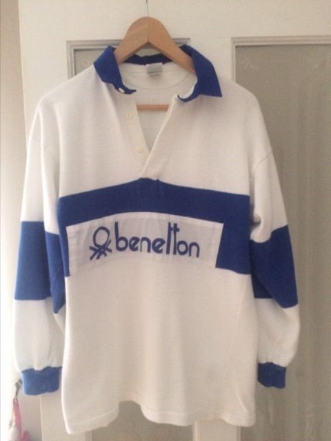 042f945dfb3 Benetton blue and white rugby shirt. Rare Original 80s Classic.Cp company  S/M £176.12 (28B)
