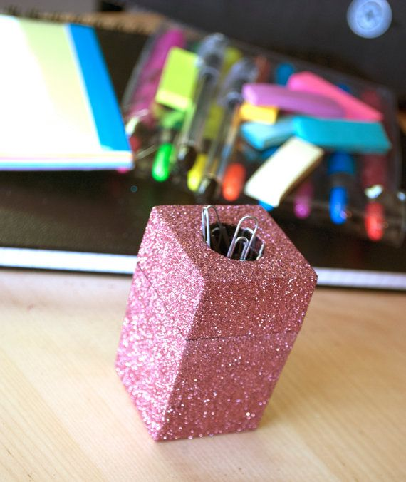 This Glamorous And Glittery Paper Clip Holder Is The Perfect Way To Add Flair To Paper Clip Paper Clips Holder Pink Glitter