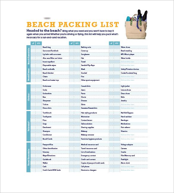 Beach Packing List  Packing List Template With Several Common