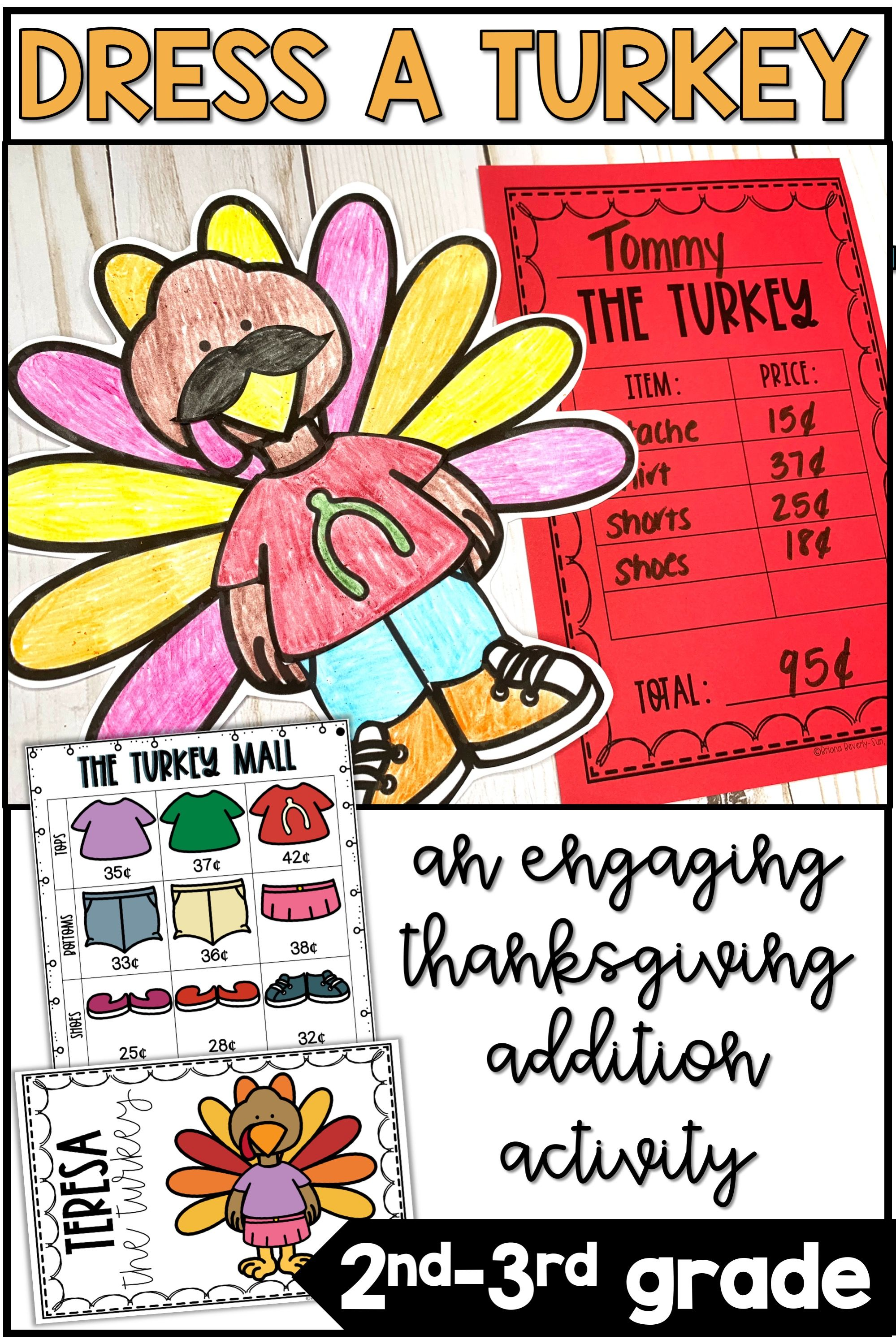 Thanksgiving Addition Activity Amp Turkey Math Craft