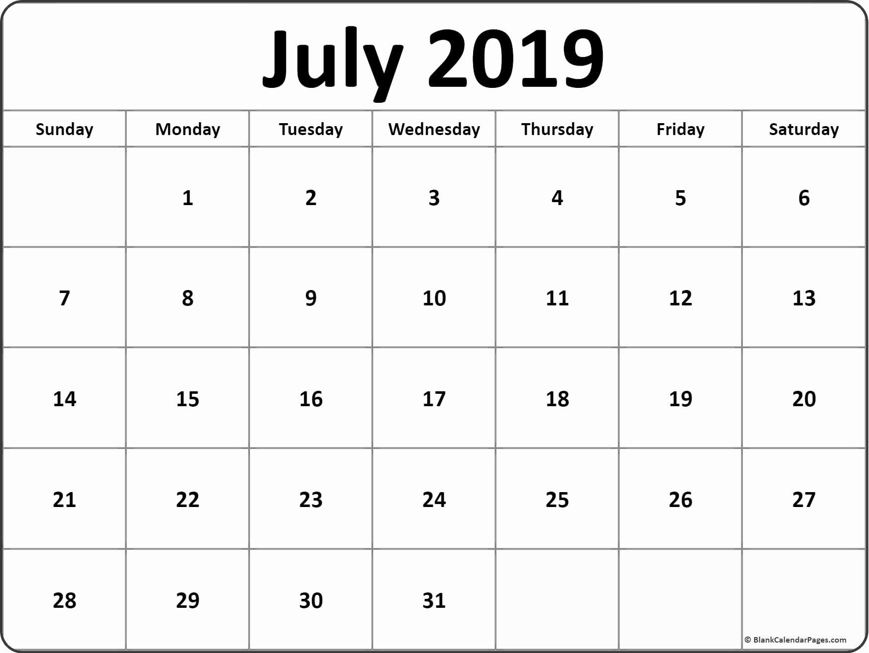 July 2019 Calendar Pdf July July2019 July2019calendar 2019calendar Printable Calendar July Weekly Calendar Template Monthly Calendar Printable