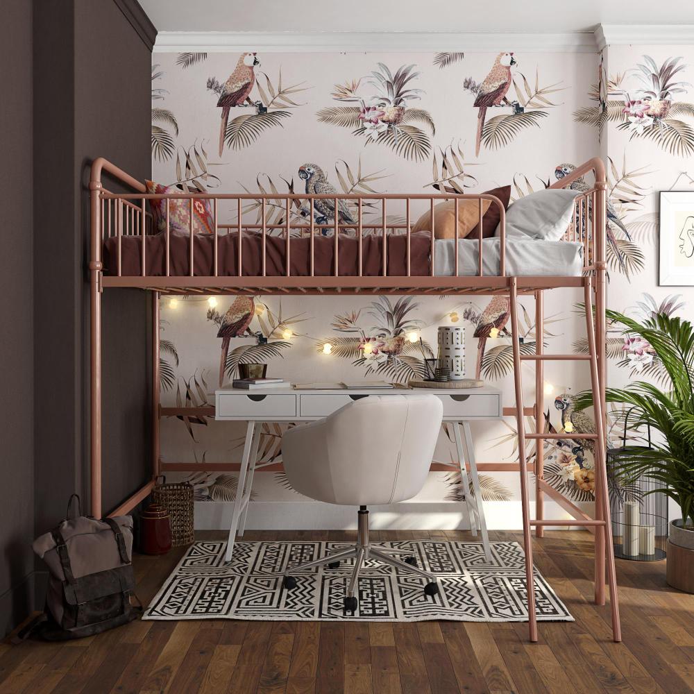 Bhg Kelsey Twin Metal Loft Bed Rose Gold Walmart Com Loft Beds For Small Rooms Loft Bed Frame Loft Bed Plans