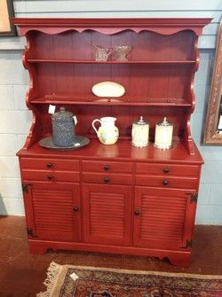 Ethan Allen Red Painted Dining Buffet Hutch