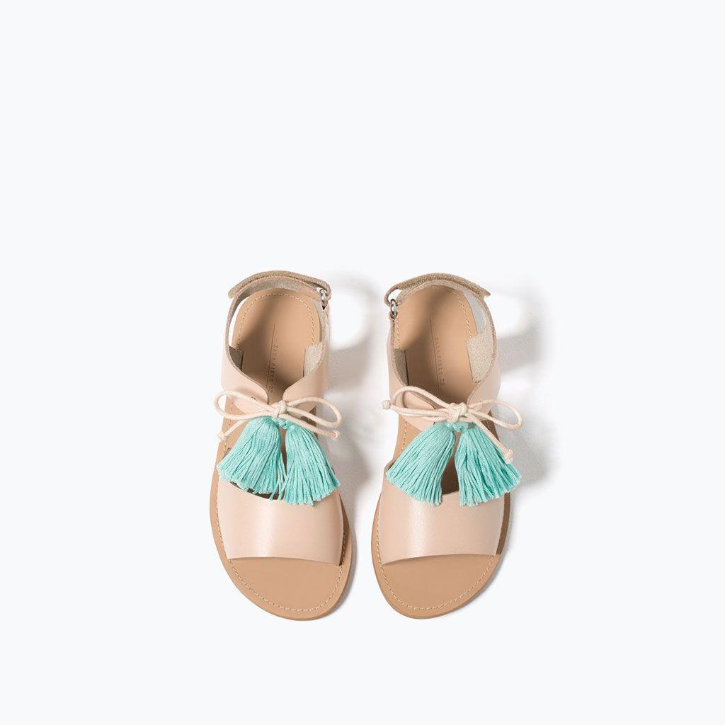 Sandales En Cuir à Pompon Chaussures Filles 4 14 Ans Enfants Zapatos Para Niñas Zapatos Niña Zara Zapatos De Cuero