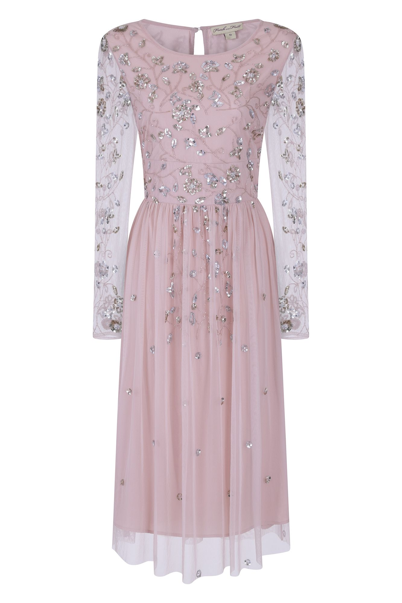 Frock and Frill Womens Gala Long Sleeve Embellished Midi Party Dress
