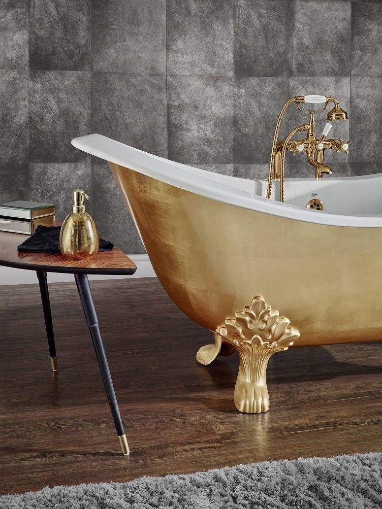 Baignoire En Fonte Lavande Finition Feuilles D Or Bathtub Design