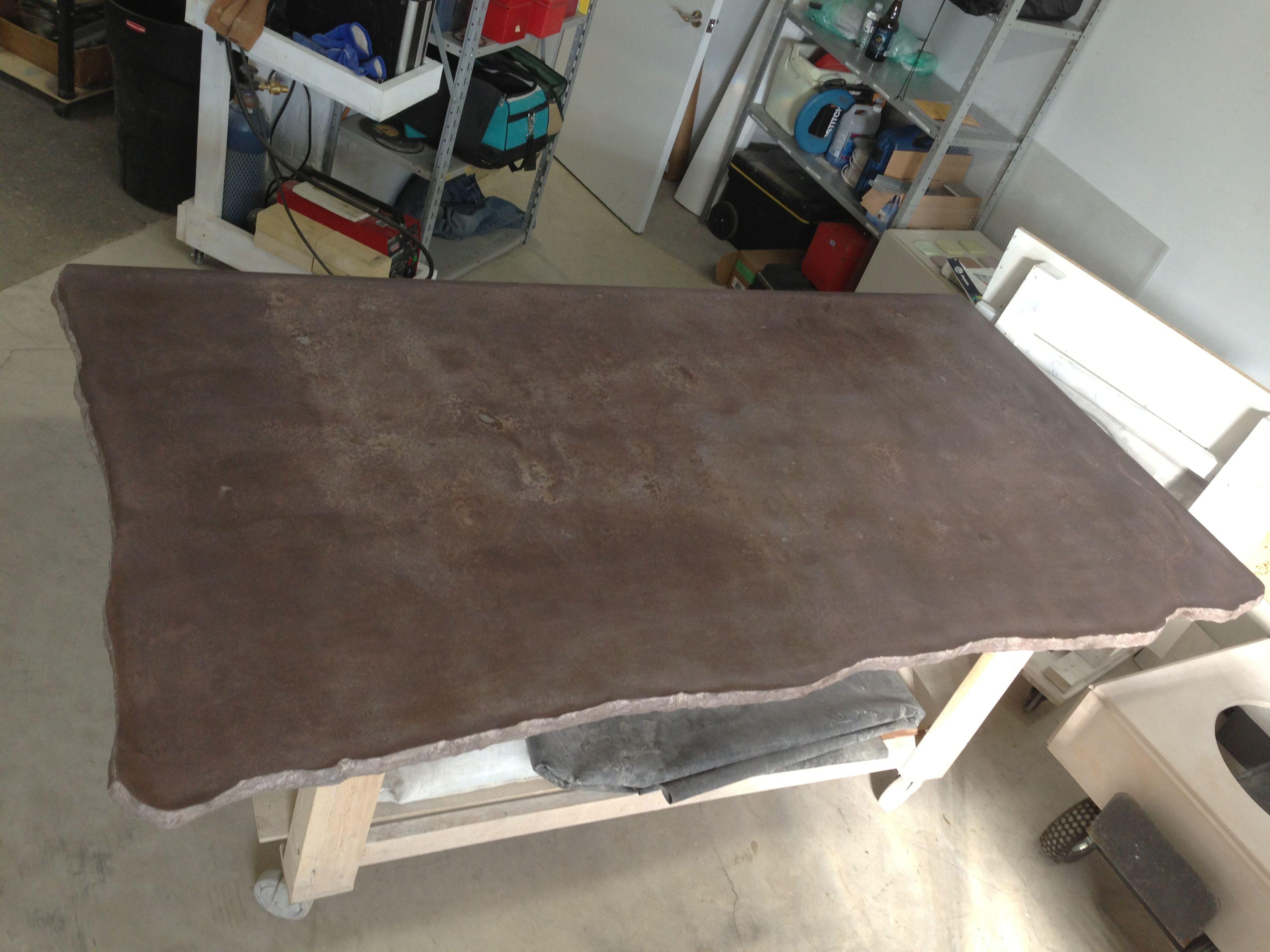 Leather look 9 X 5 Concrete Island top, split edge