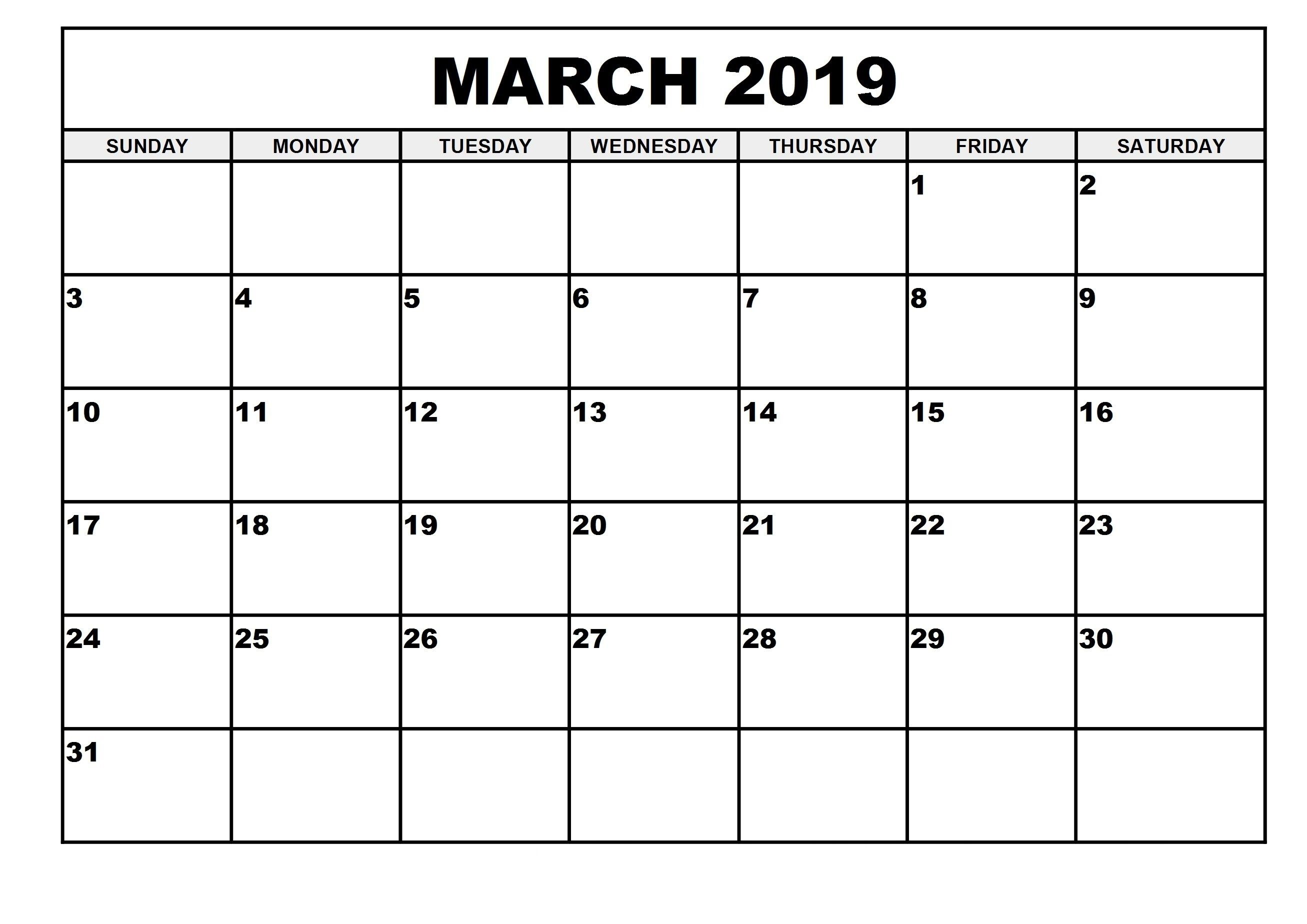 Free Printable March 2019 Calendar Full Year Calendar March