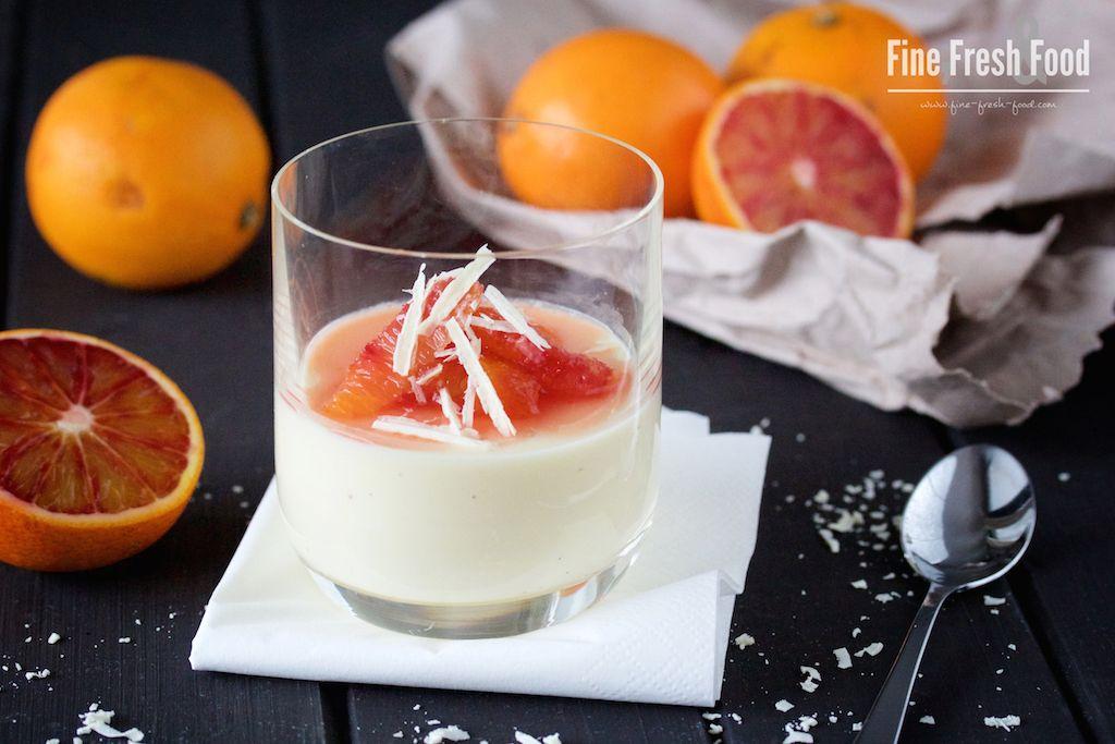 White Chocolate Panna Cotta with Blood Oranges