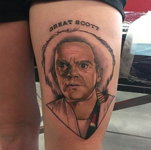 Another amazing Doc Brown by Dan Molloy. #great #scott #Inked #tattoo #ink #doc #brown #portrait