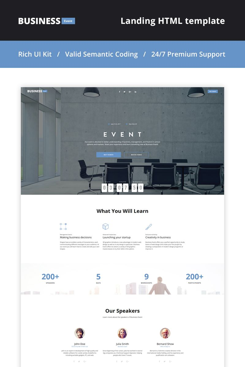 Business Event Event Planner Landing Page Template