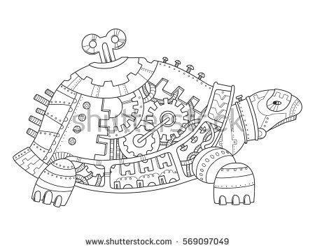 Steampunk style turtle. Mechanical animal. Coloring book