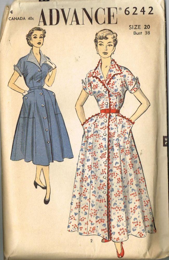 Vintage Pattern House Dress Housedress Advance 6242 20 38 1950 S Housewife House Dress Sundress Sewing Patterns Vintage Dress Patterns