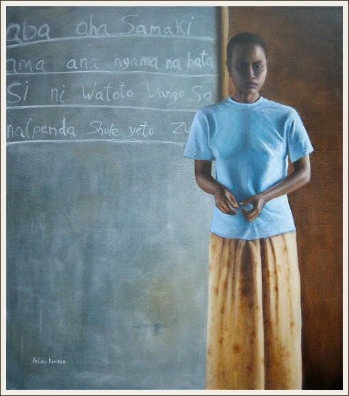 """Escuela en Africa"" Oleo sobre lino"