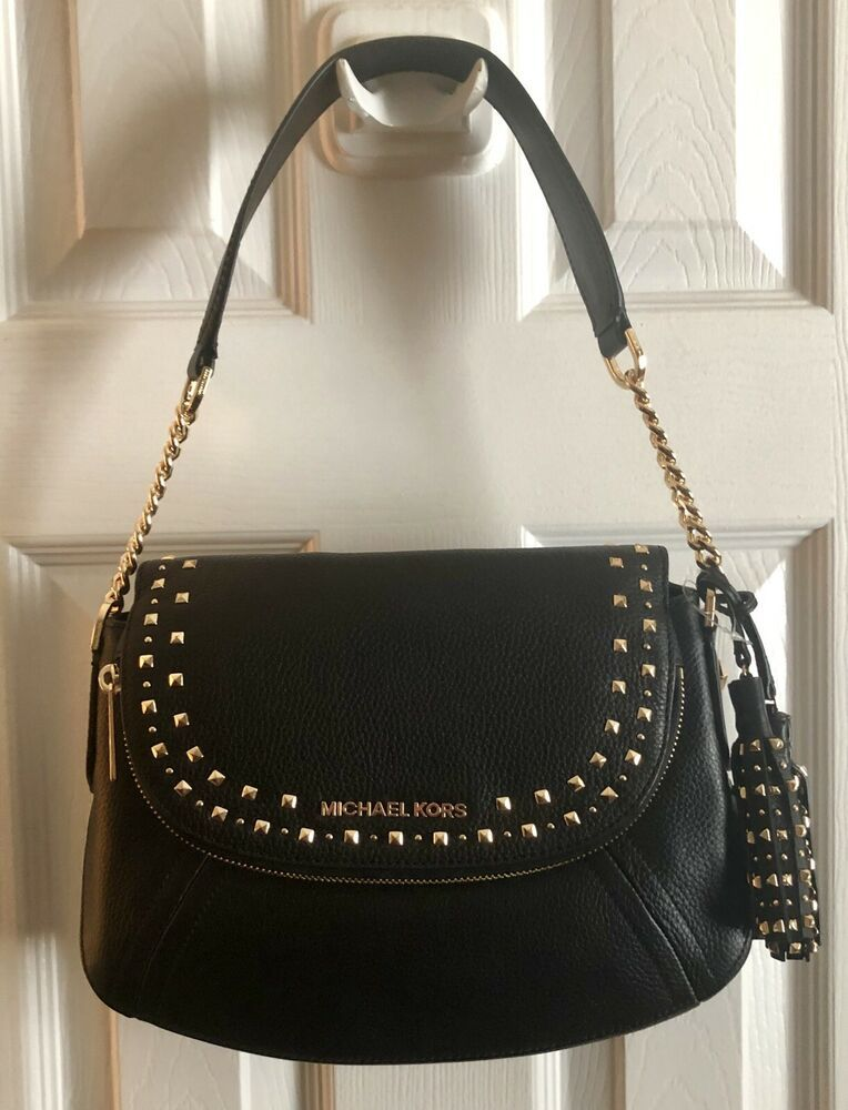 4d12cf1c78e2 Michael Kors Aria NEW Studded Medium Convertible Shoulder Leather Black  Handbag | eBay