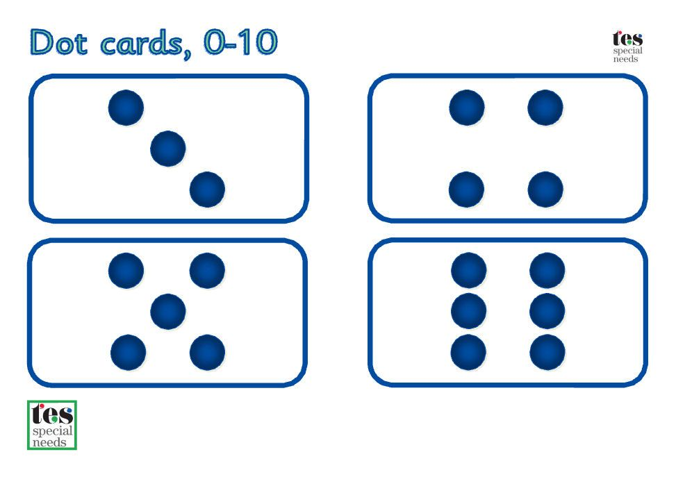 Dot and Number Cards - 0-10: Simple printable cards for basic maths ...