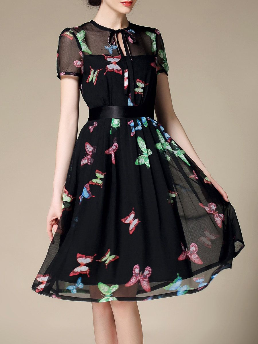 d01bc754040c #AdoreWe #StyleWe Designer Midi Dresses - Designer Riwins Black Chiffon  A-line Elegant Animal Print Midi Dress - AdoreWe.com