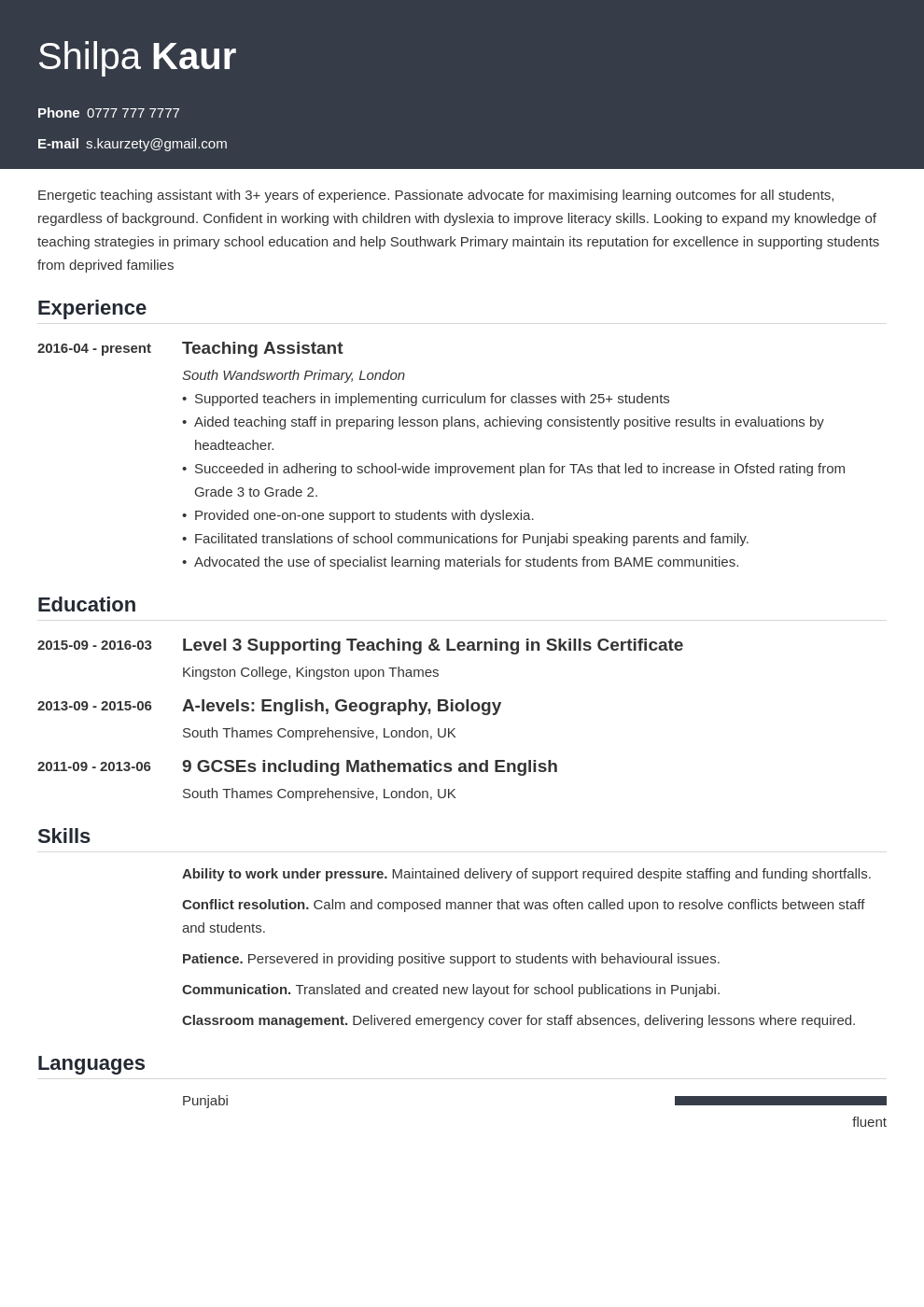 uk teaching assistant cv example template influx in 2020