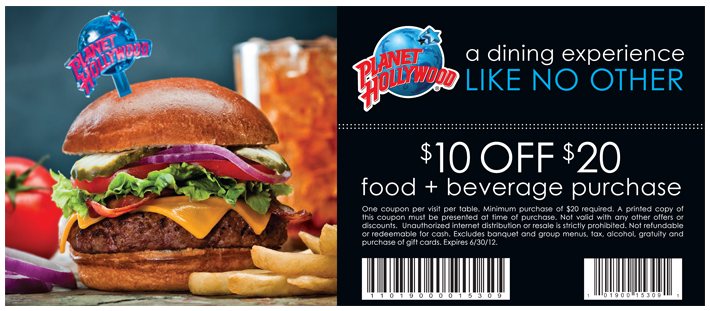 planet hollywood restaurant coupon code