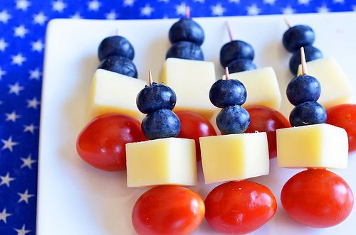 Red, White and Blue Skewers - Cherry Tomatoes, White Cheese, Blueberries