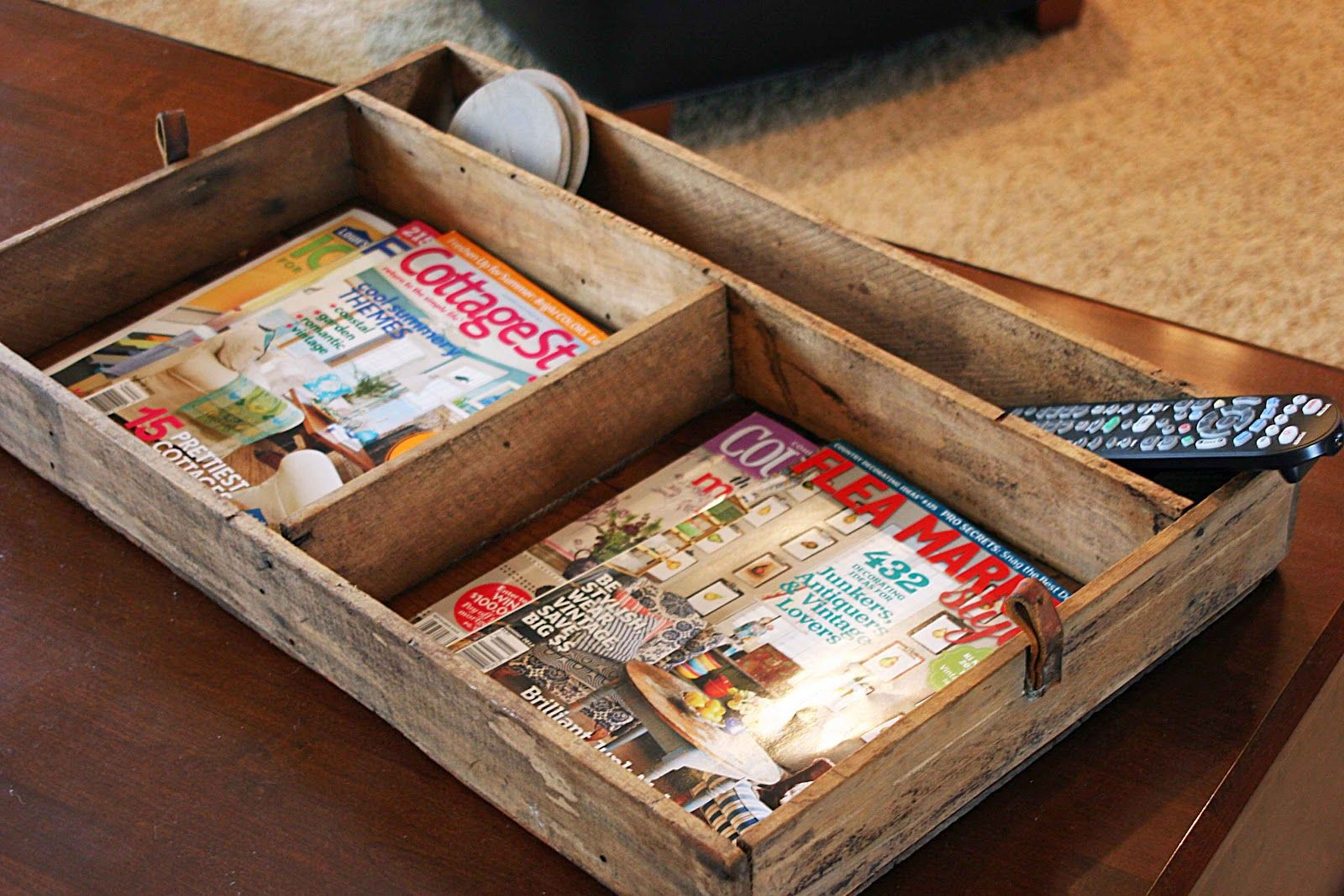 I need this! Divided box - so perfect for coffee table ...