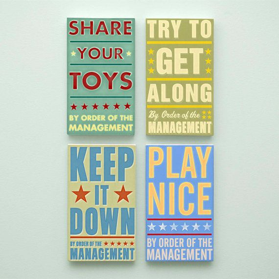 Kids Room Art for Playroom Decor Set By Order of the Management Word ...