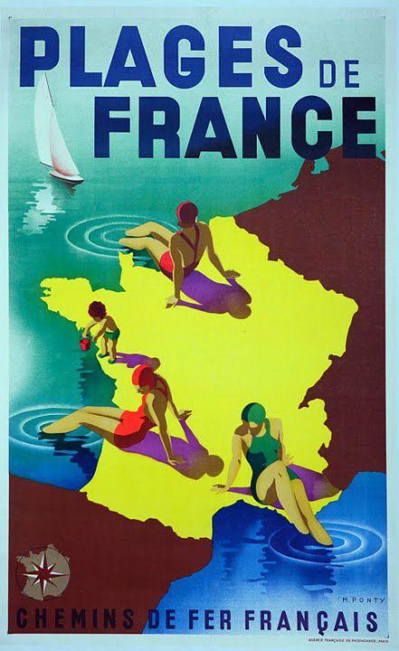 Plages de France. Beaches of France vintage beach travel poster
