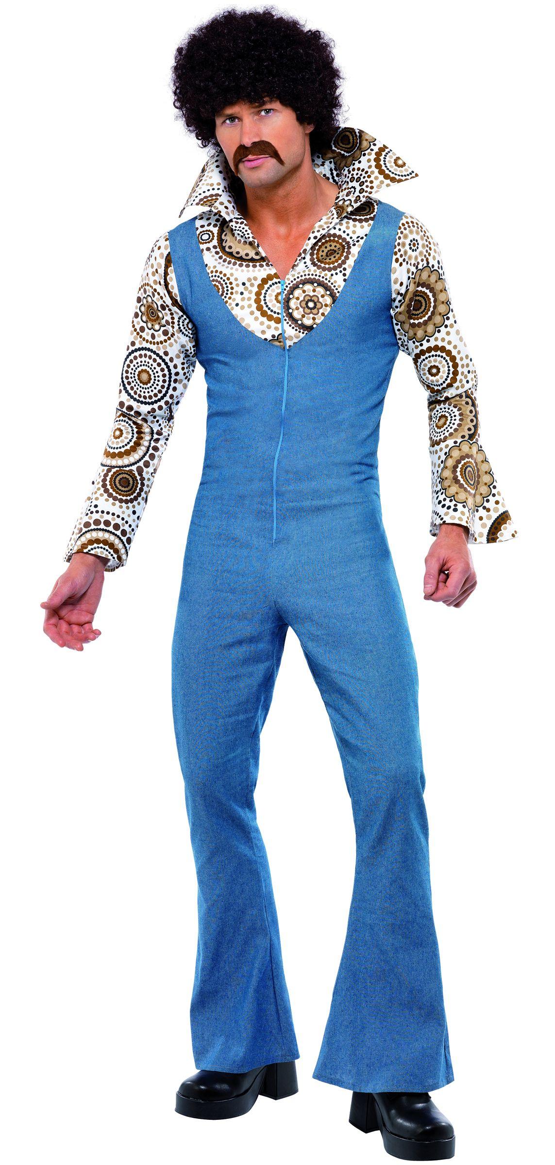 31bbb30c40 Disfraz disco de los años 70 para hombre  Este disfraz disco para hombre se  compone de un traje azul.La falsa camisa abigarrada está cosida al traje  que se ...