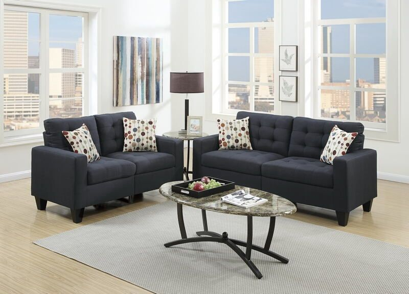 Poundex F6903 2 Pc Andover Mills Callanan Black Faux Linen Fabric