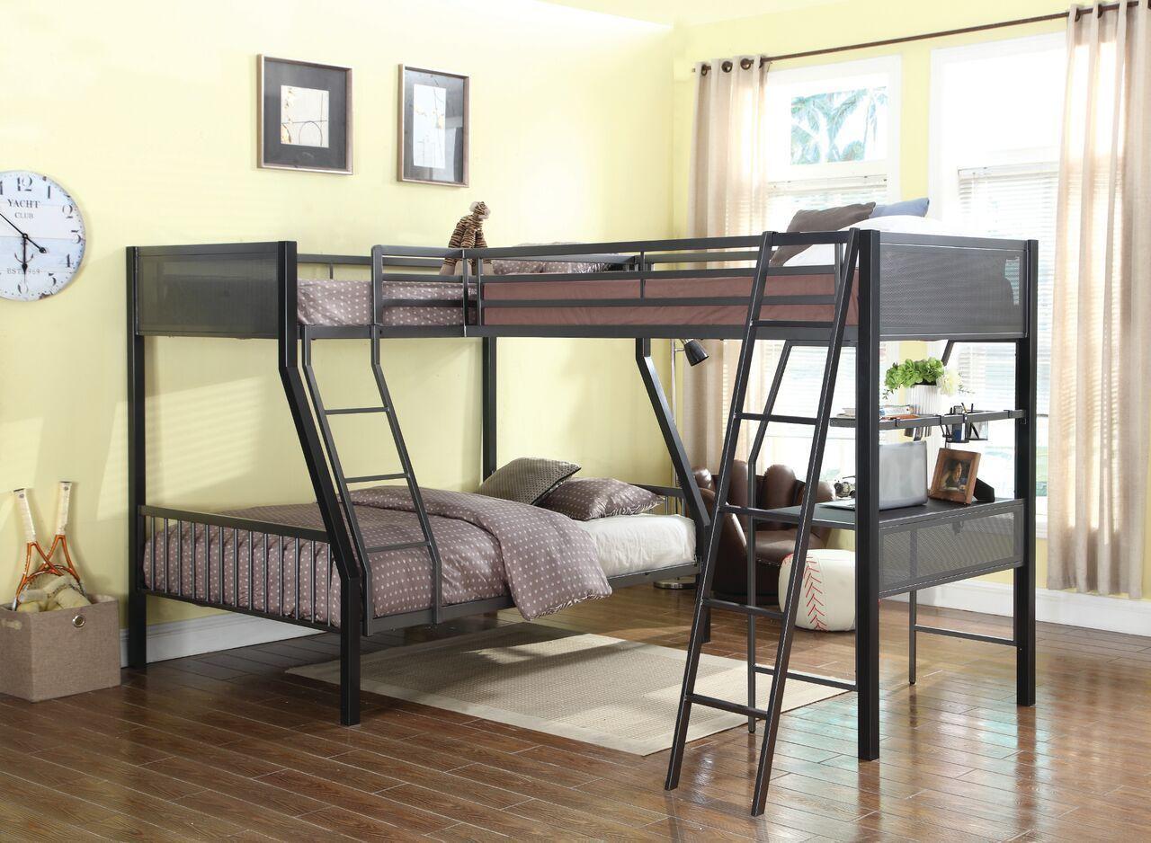 Two twin loft bed  Kids Furniture Cool Black Gunmetal Twin Over Full Youth Loft Bunk