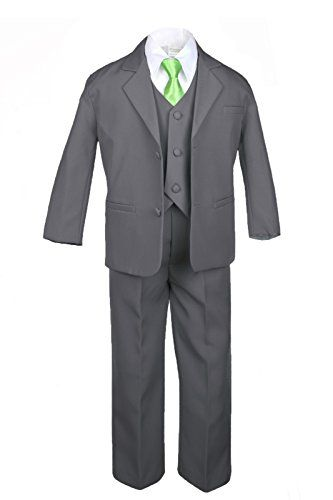 Leadertux 6pc Formal Boy Dark Gray Vest Set Suits Extra Lime Green Necktie S-20  http://www.yourneckties.com/leadertux-6pc-formal-boy-dark-gray-vest-set-suits-extra-lime-green-necktie-s-20/