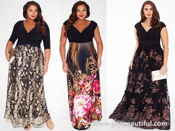 plus size black tie wedding guest maxi dress