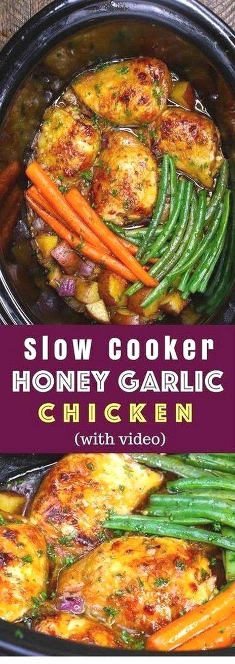 Slow Cooker Honey Garlic Chicken With Veggies | Crockpot Recipes #crockpotmeals