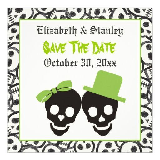 Elegant skulls Halloween wedding Save the Date Invitations