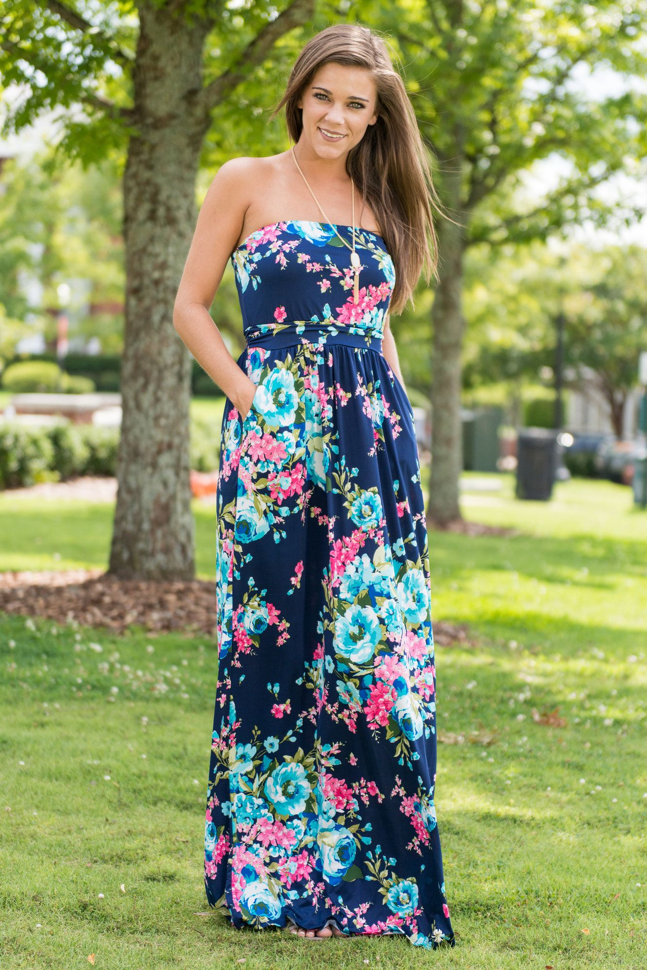 We Believe In Blossoms And This Strapless Dress This Strapless Maxi Is Dresses Maxi Dress Maxi Dress Navy [ 1998 x 1333 Pixel ]