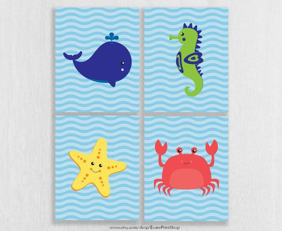 Canvas Under The Sea Bathroom Decor Ocean Theme Bathroom Boy