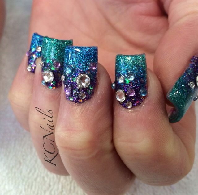 Teal, Blue, and Purple acrylic nails. 3 tone fade. Under the sea ...