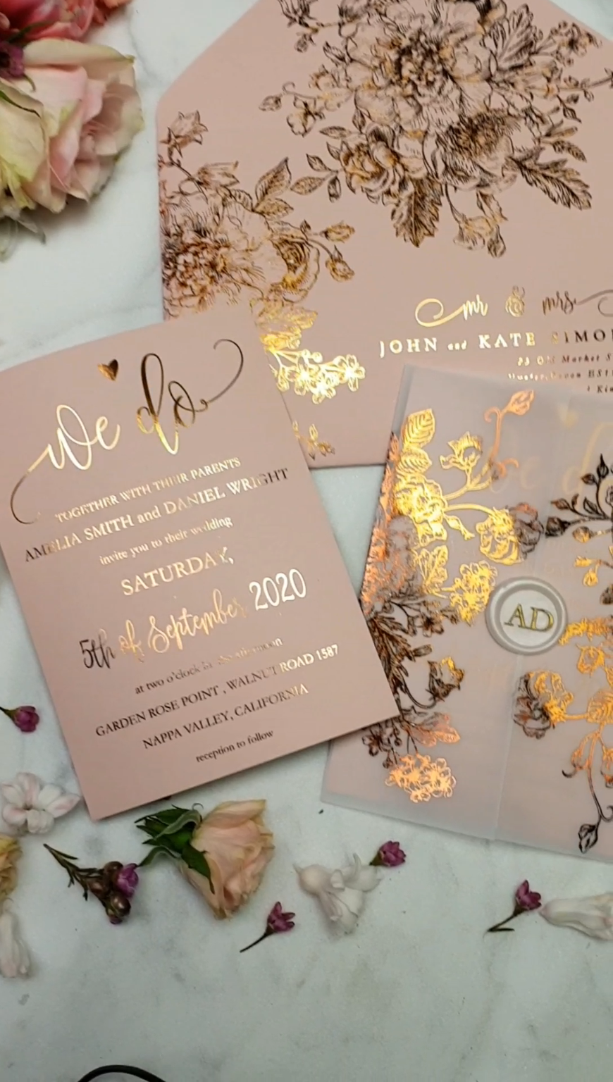 Personalized wedding invitation suite to match your gold glitter theme style and budget! We do Rose Gold wedding Invitation suite with Vellum wraping paper and Was seal #gold decor diy videos Rose Gold Wedding Invitations