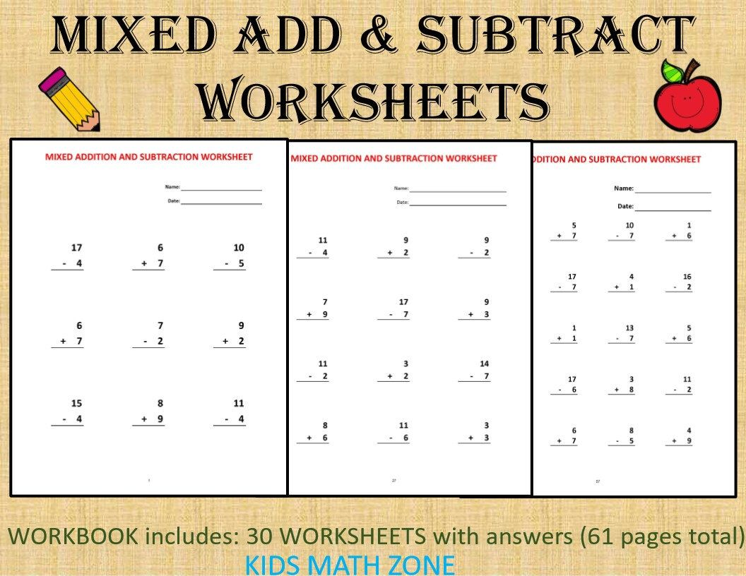 Add Subtract Math Printable Worksheets No Regrouping 61 Etsy Math Worksheets Math Workbook Math Printables [ 816 x 1056 Pixel ]
