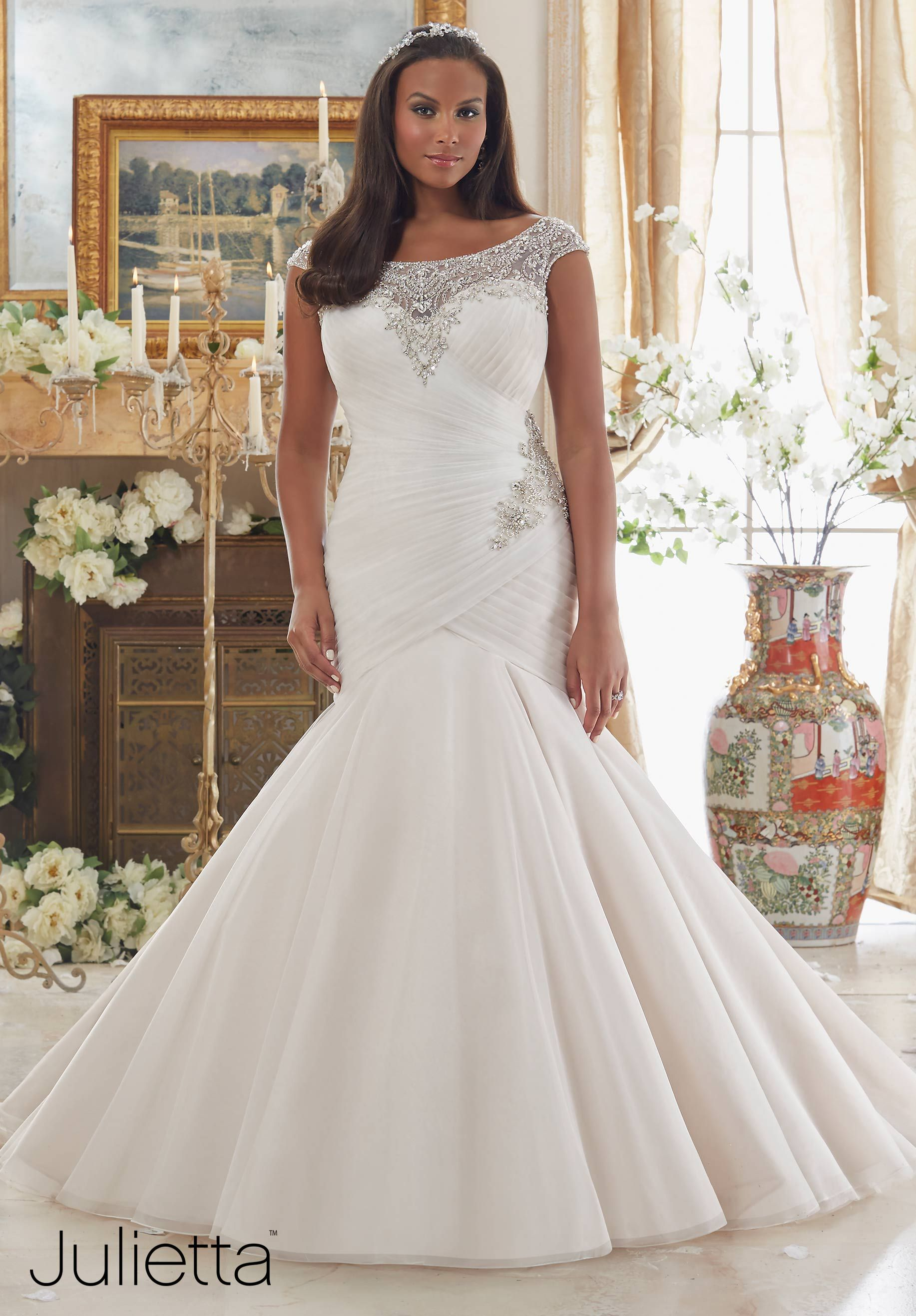 Wedding Dresses By Julietta featuring Dazzling Beaded Embroidery on Tulle Colors Available: White, Ivory, Ivory/Champagne