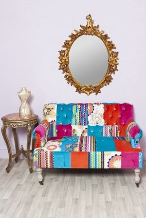 Large Two Seater Vibrant Multi Coloured Patchwork Sofa Patchwork Sofa Antique Style Sofa Handmade