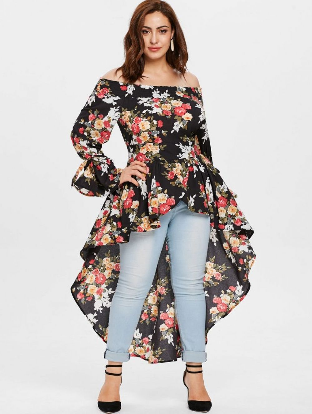 f399e54991e High Low Tops Plus Size Floral Shirts Price: 31.18 & FREE Shipping  #clothing #indozstyle