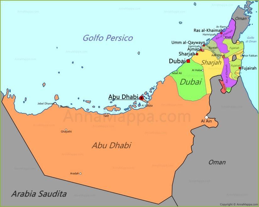 Mondo Arabo Cartina.Mappa Emirati Arabi Uniti Emirati Arabi Uniti Abu Dhabi Mappa