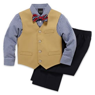 """<p>Keep him classy and cute at your next special occasion with this handsome vest set.</p><div style=""""page-break-after: always"""