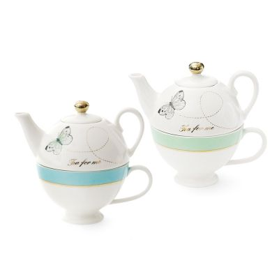 Set Of 2 Mini Teapot/Cup With Butterfly Design- Aqua Green/Turquoise