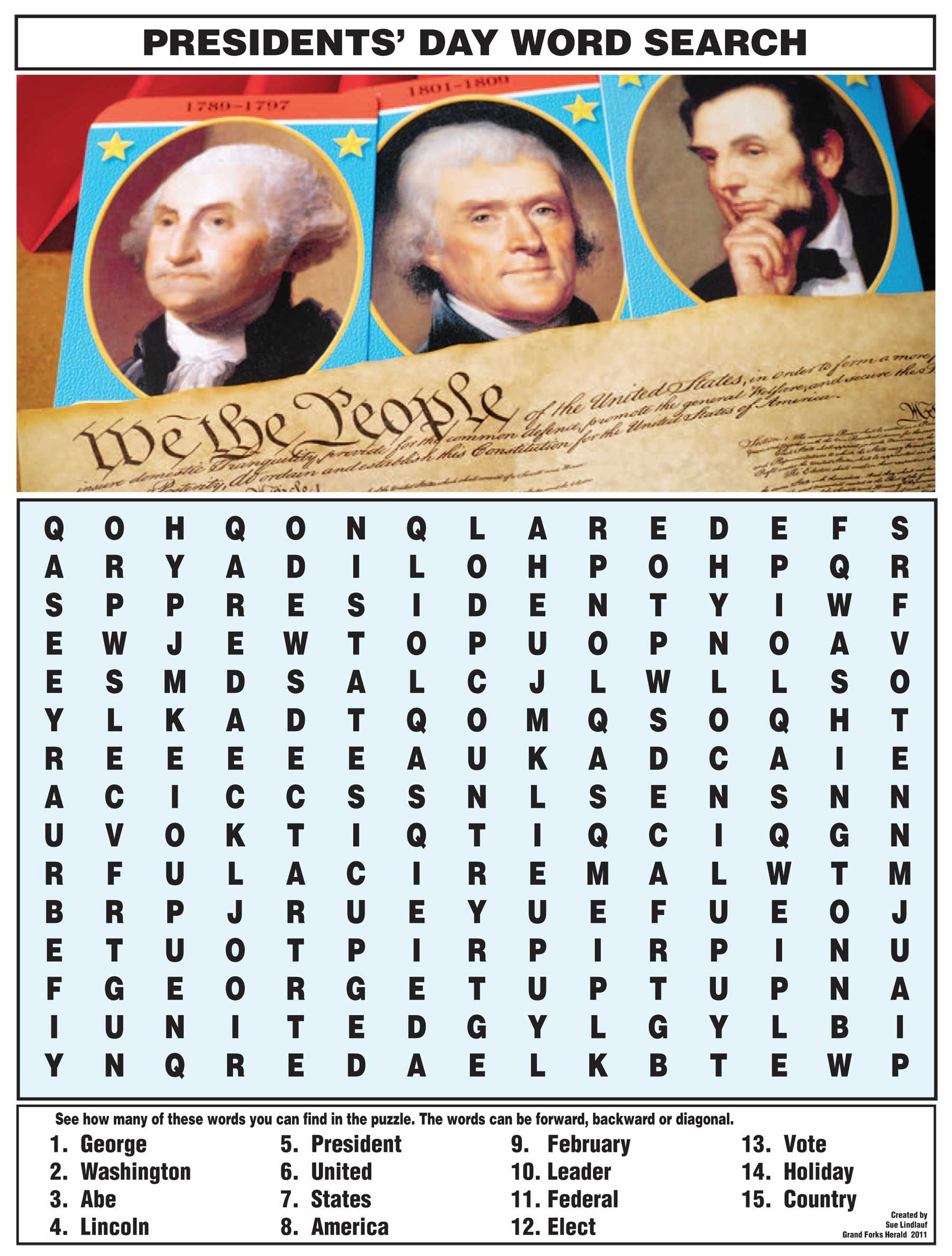 Presidents\' Day Word Search from NIE Rocks! | Mazes, puzzles & games ...