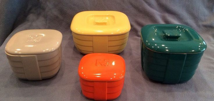 Deco Vintage Refrigerator Dishes | Vintage Hall China Hotpoint Ceramic Dish Container Set Art Deco