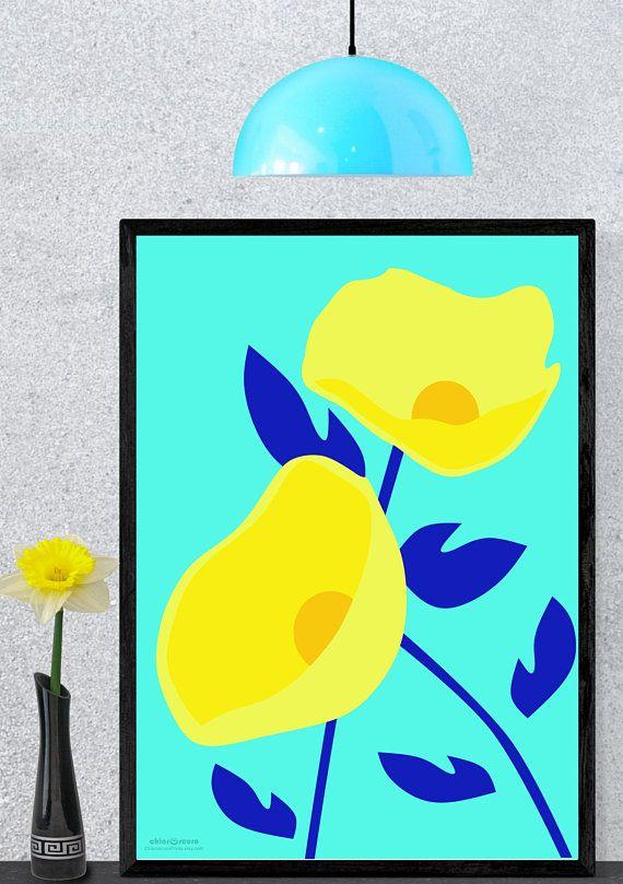 Contemporary floral Pop Art. Flower wall art. Modern printable art ...