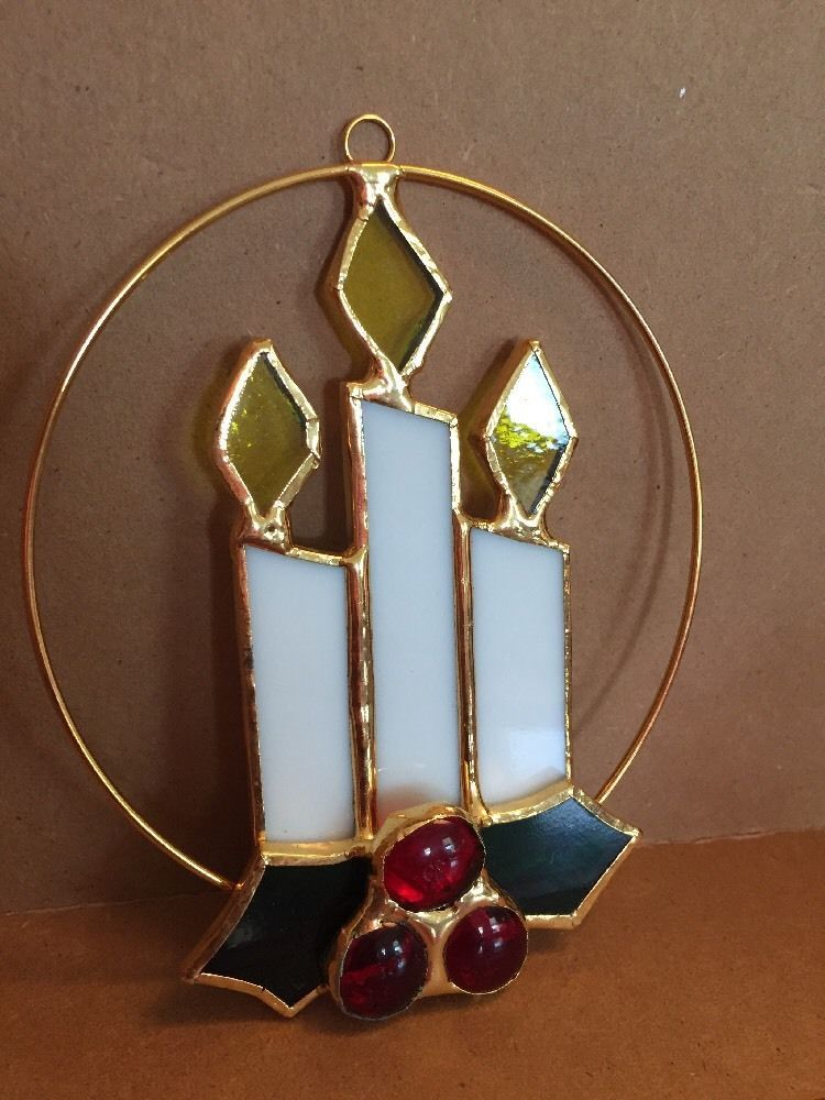 Tiffany Stained Glass Ornament Christmas Candles 5\