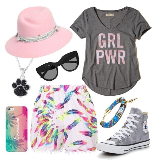 """Look Día Casual"" by evangelinacampos ❤ liked on Polyvore featuring Hollister Co., Le Specs, Casetify, Belk Silverworks, Maison Michel, Converse and Celine H2o"